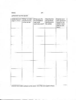 UpFront Magazine supplemental worksheet