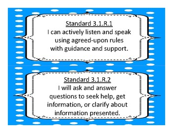 3rd Grade Oklahoma Language Arts Standards 2017-2018  Dot design