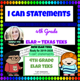 """Updated 4th Grade ELAR """"I can"""" Statements for Texas TEKS"""