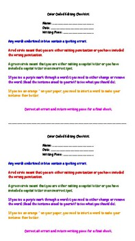 Updated Color Coded Editing Checklist