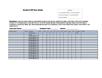 Updated IEP Student Due Date and Related Services Schedule