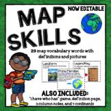 Geography Vocabulary | Map Skills Word Wall | Editable