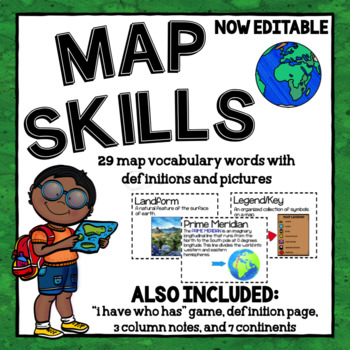 Map Skills Vocabulary Cards and More