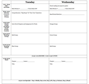 Updated! Planbook for Elementary Teachers - 2 vertical days per page!