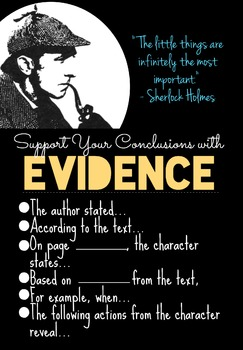 Updated! Sherlock Holmes Textual Evidence Poster