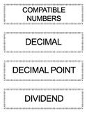 Go Math Grade 5 Vocabulary Words for Bulletin Board Unit 5