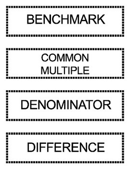 Go Math Grade 5 Vocabulary Words for Bulletin Board Unit 6- updated