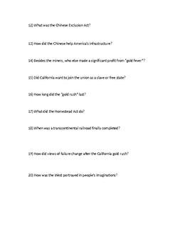 Upfront Magazine Gold Rush Questions Sheet