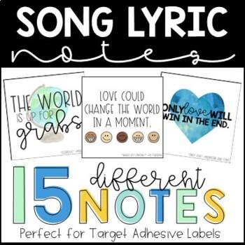 Song Lyric Desk Notes - TARGET ADHESIVE LABELS - Desk Notes