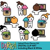 Upload photo planner girl clip art (social media instagram clipart)