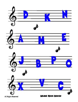 Upper Case Alphabet Reading Center File Folder Activity - Music Note Theme