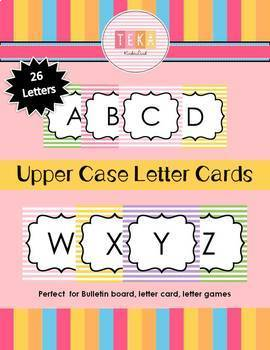 Uppercase Letter Cards-Colorful Stripes