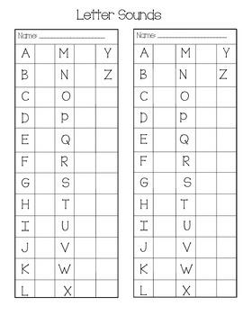 Upper Case Letter Sounds Sticker Chart