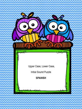 Upper Case, Lower Case, Initial Sound Puzzle Spanish