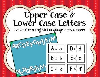 Upper Case & Lower Case. Language Arts Center. Puzzle. Activity.