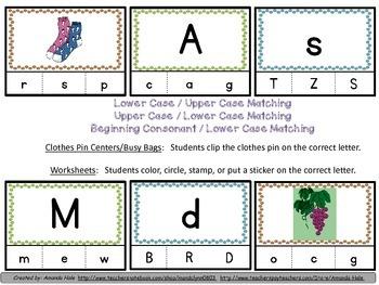 Upper Case / Lower Case Letter / Beginning Consonant Sound