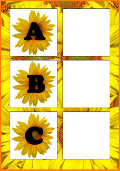 Letter Matching Uppercase and Lowercase - Sunflowers