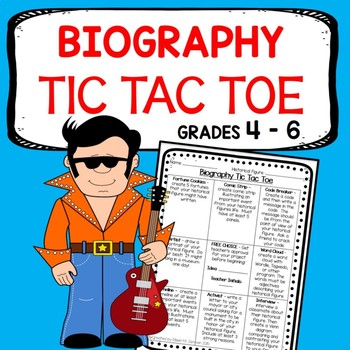 Upper Elementary Biography Tic Tac Toe - Choice Board