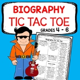 Upper Elementary Biography Research Tic Tac Toe - Choice Board