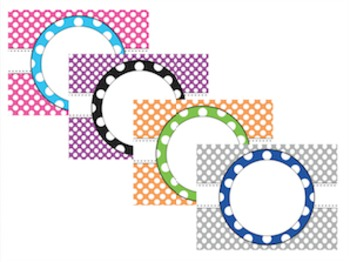Upper Elementary Book Box Labels (Polka Dot) Editable Version Included