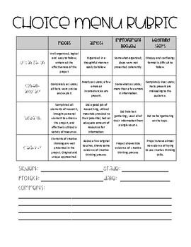 Upper Elementary Book Project Choice Menu