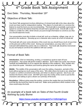Upper Elementary Book Talk / Book Report with Rubric