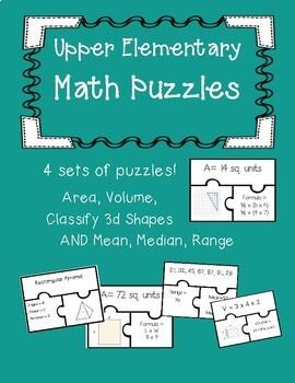 Upper Elementary Task Card Puzzle Bundle