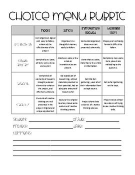 Upper Elementary Choice Menus  (Growing Resource)