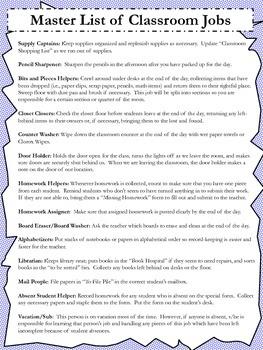 Upper Elementary Classroom Jobs Management Pack