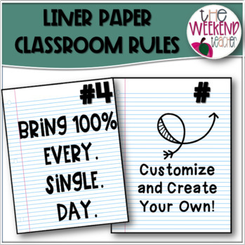 Upper Elementary Classroom  Rules Lined Paper Theme