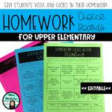Upper Elementary Homework Choice Board *EDITABLE*