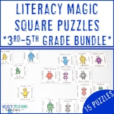 Upper Elementary Literacy Magic Square Puzzles for ELA Cen