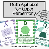 Upper Elementary Math Alphabet - Watercolor