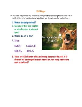 Upper Elementary Math Bell Ringers