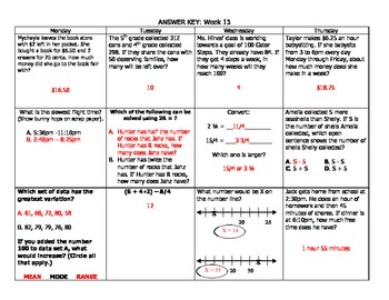 Upper Elementary Math Morning Work Packet (Weeks 13-15)