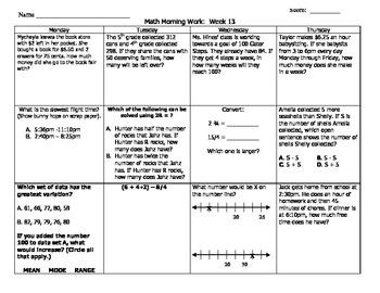 Upper Elementary Math Morning Work Packet (Weeks 13-15)