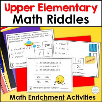 Upper Elementary Math Riddle Task Cards Bundle