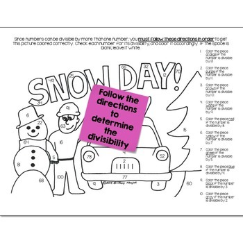 Snow Day Math Practice Color by Number Grades 5-8