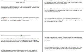 Upper Elementary Multistep Math Word Problems (STAAR)