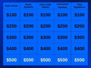 Upper Elementary Music Jeopardy