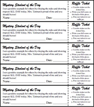 Upper Elementary Mystery Student Tickets