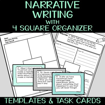 Narrative Writing with 30 Prompts & Four Square Organizer for Upper Elementary