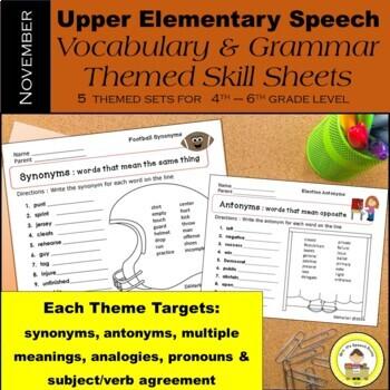 November Speech Therapy Upper Elementary Vocab & Grammar Worksheets
