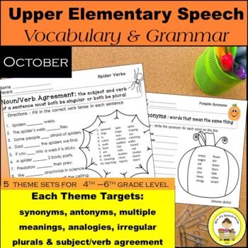 October Speech Therapy Upper Elementary Themed Vocab & Gra