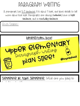 Upper Elementary - Paragraph Writing TEMPLATE!