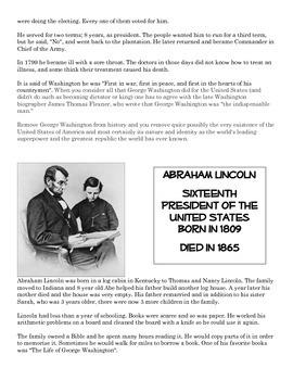 Washington, Lincoln, & King (Print & Go Informational Reading Activities)