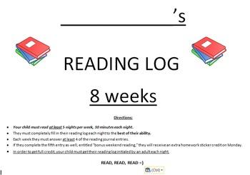 Upper Elementary Reading Log