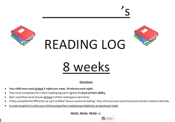 Upper Elementary Reading Log