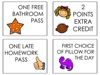 Upper Elementary Reward Coupons