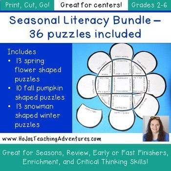 Seasonal Literacy Centers: Contractions, Compound Words, Nouns, Verbs, & MORE
